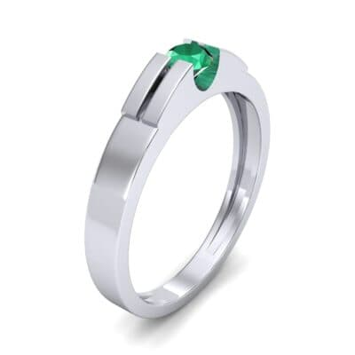 Contrast Shoulder Solitaire Emerald Engagement Ring (0.23 CTW) Perspective View