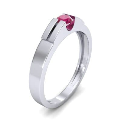Contrast Shoulder Solitaire Ruby Engagement Ring (0.23 CTW) Perspective View
