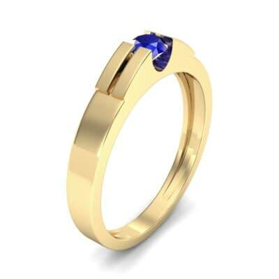 Contrast Shoulder Solitaire Blue Sapphire Engagement Ring (0.23 CTW) Perspective View