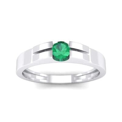 Contrast Shoulder Solitaire Emerald Engagement Ring (0.23 CTW) Top Dynamic View