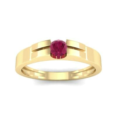 Contrast Shoulder Solitaire Ruby Engagement Ring (0.23 CTW) Top Dynamic View