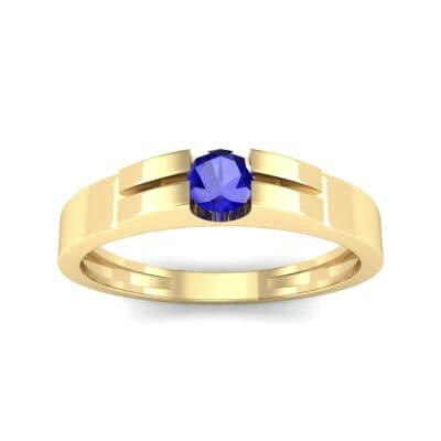 Contrast Shoulder Solitaire Blue Sapphire Engagement Ring (0.23 CTW) Top Dynamic View