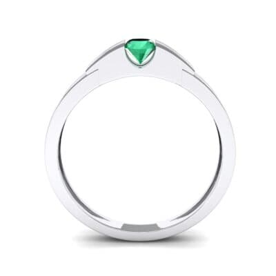 Contrast Shoulder Solitaire Emerald Engagement Ring (0.23 CTW) Side View