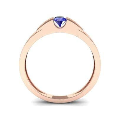 Contrast Shoulder Solitaire Blue Sapphire Engagement Ring (0.23 CTW) Side View