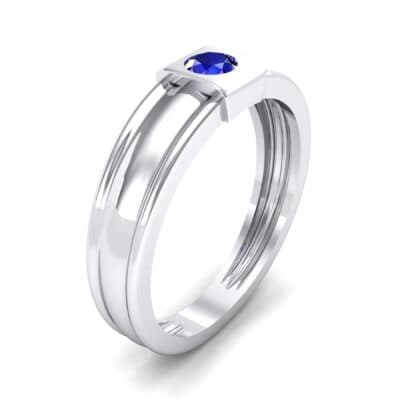 Cube Blue Sapphire Ring (0.17 CTW) Perspective View