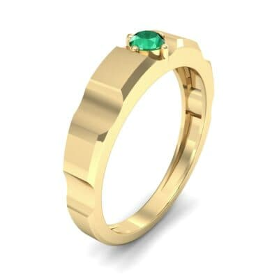 Cog Solitaire Emerald Engagement Ring (0.17 CTW) Perspective View