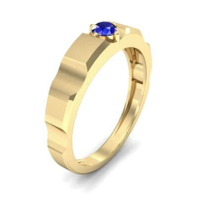 Cog Solitaire Blue Sapphire Engagement Ring (0.17 CTW) Perspective View