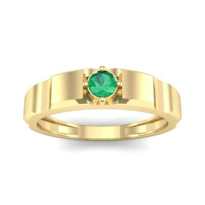 Cog Solitaire Emerald Engagement Ring (0.17 CTW) Top Dynamic View