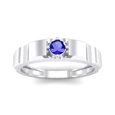 Cog Solitaire Blue Sapphire Engagement Ring (0.17 CTW) Top Dynamic View