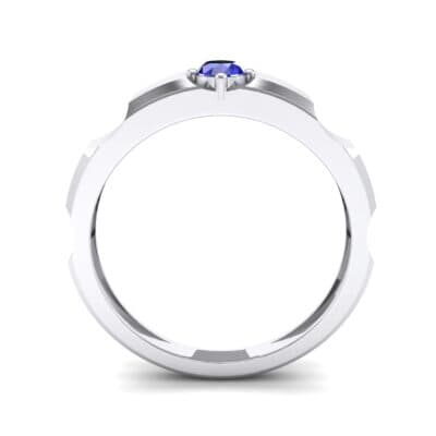 Cog Solitaire Blue Sapphire Engagement Ring (0.17 CTW) Side View