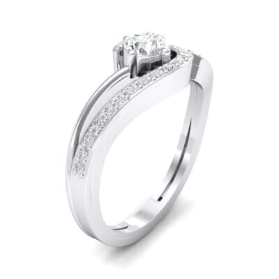Pave Encircle Crystal Engagement Ring (0.43 CTW) Perspective View
