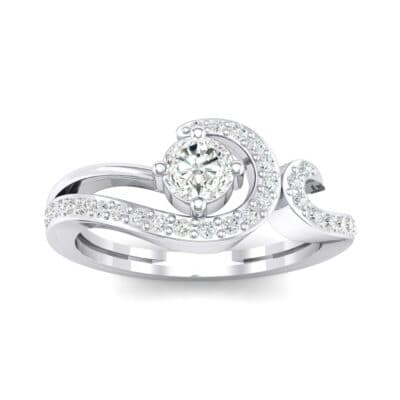 Pave Encircle Crystal Engagement Ring (0.43 CTW) Top Dynamic View