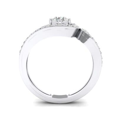 Pave Encircle Crystal Engagement Ring (0.43 CTW) Side View