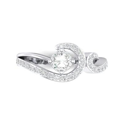 Pave Encircle Crystal Engagement Ring (0.43 CTW) Top Flat View