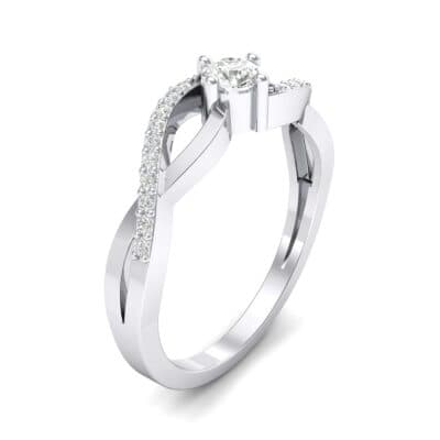 Weaving Shank Solitaire Crystal Engagement Ring (0.28 CTW) Perspective View