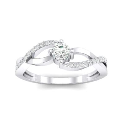 Weaving Shank Solitaire Crystal Engagement Ring (0.28 CTW) Top Dynamic View