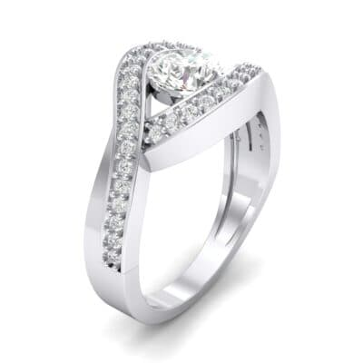 Pave Eye Solitaire Crystal Engagement Ring (1.19 CTW) Perspective View