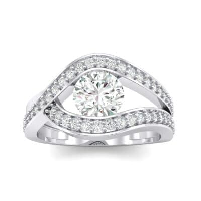 Pave Eye Solitaire Crystal Engagement Ring (1.19 CTW) Top Dynamic View