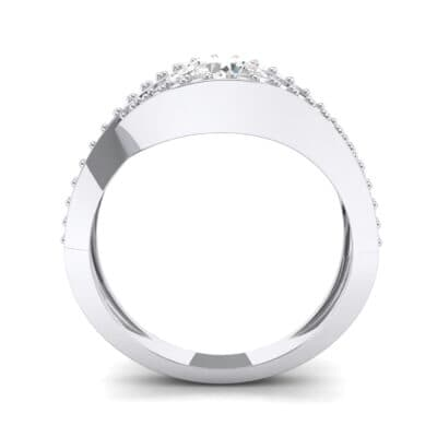 Pave Eye Solitaire Crystal Engagement Ring (1.19 CTW) Side View