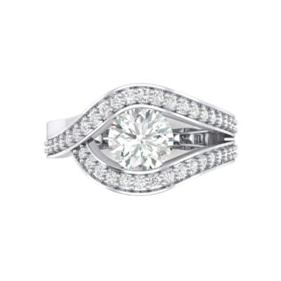 Pave Eye Solitaire Crystal Engagement Ring (1.19 CTW) Top Flat View