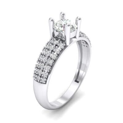 Pave Shoulder Solitaire Crystal Engagement Ring (1.21 CTW) Perspective View