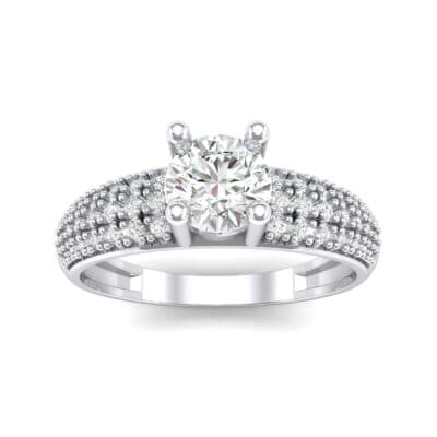 Pave Shoulder Solitaire Crystal Engagement Ring (1.21 CTW) Top Dynamic View