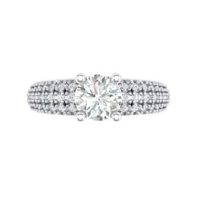 Pave Shoulder Solitaire Crystal Engagement Ring (1.21 CTW) Top Flat View