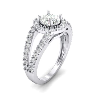 Split Shank Halo Crystal Engagement Ring (1.42 CTW) Perspective View