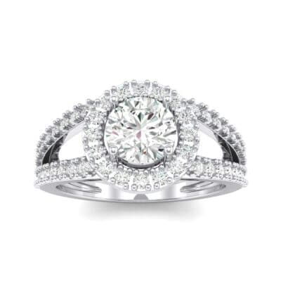 Split Shank Halo Crystal Engagement Ring (1.42 CTW) Top Dynamic View