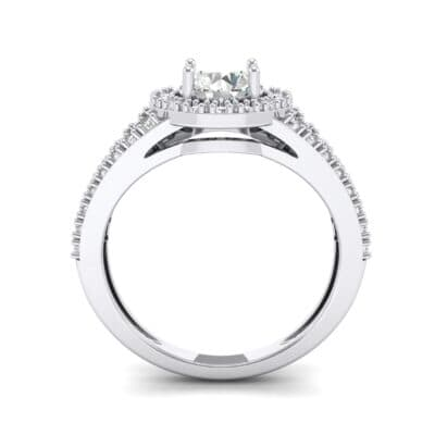 Split Shank Halo Crystal Engagement Ring (1.42 CTW) Side View