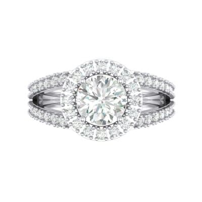 Split Shank Halo Crystal Engagement Ring (1.42 CTW) Top Flat View