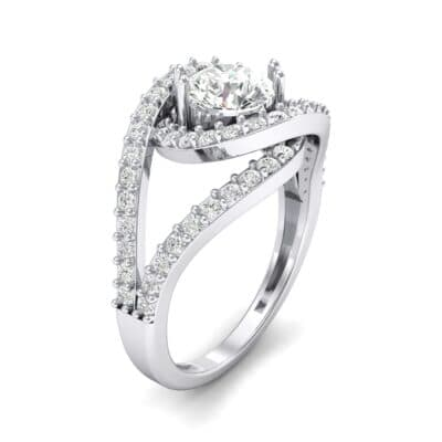Split Shank Swirl Halo Crystal Engagement Ring (1.51 CTW) Perspective View