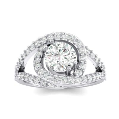Split Shank Swirl Halo Crystal Engagement Ring (1.51 CTW) Top Dynamic View