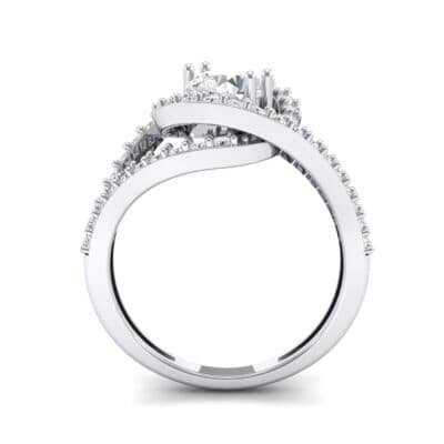 Split Shank Swirl Halo Crystal Engagement Ring (1.51 CTW) Side View