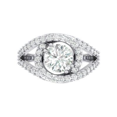 Split Shank Swirl Halo Crystal Engagement Ring (1.51 CTW) Top Flat View