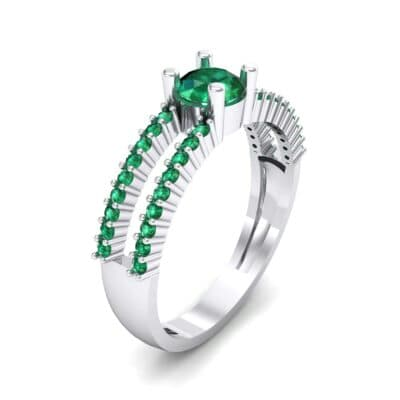 Pave Split Shank Emerald Engagement Ring (0.79 CTW) Perspective View