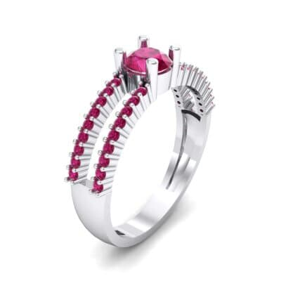 Pave Split Shank Ruby Engagement Ring (0.79 CTW) Perspective View