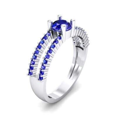 Pave Split Shank Blue Sapphire Engagement Ring (0.79 CTW) Perspective View