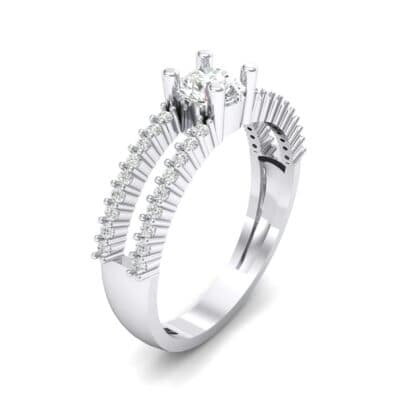 Pave Split Shank Crystal Engagement Ring (0.79 CTW) Perspective View