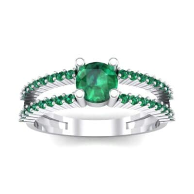 Pave Split Shank Emerald Engagement Ring (0.79 CTW) Top Dynamic View