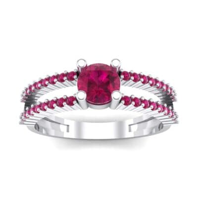 Pave Split Shank Ruby Engagement Ring (0.79 CTW) Top Dynamic View
