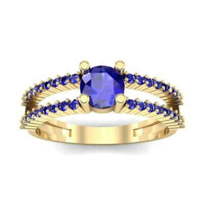 Pave Split Shank Blue Sapphire Engagement Ring (0.79 CTW) Top Dynamic View