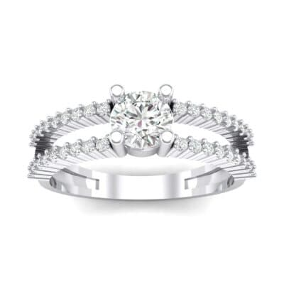Pave Split Shank Crystal Engagement Ring (0.79 CTW) Top Dynamic View