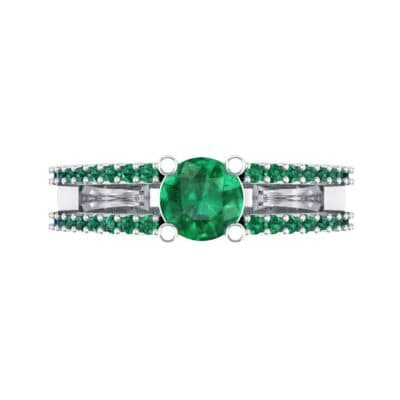 Pave Split Shank Emerald Engagement Ring (0.79 CTW) Top Flat View