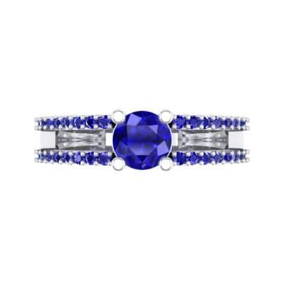 Pave Split Shank Blue Sapphire Engagement Ring (0.79 CTW) Top Flat View