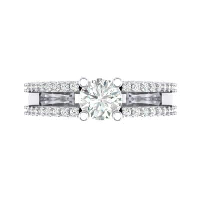 Pave Split Shank Crystal Engagement Ring (0.79 CTW) Top Flat View
