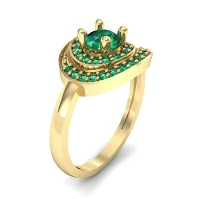 Asymmetrical Pave Bypass Emerald Engagement Ring (0.77 CTW) Perspective View