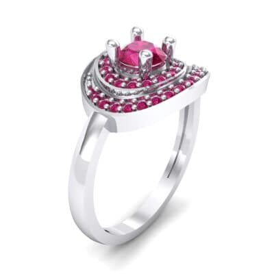 Asymmetrical Pave Bypass Ruby Engagement Ring (0.77 CTW) Perspective View