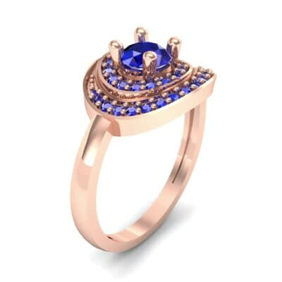 Asymmetrical Pave Bypass Blue Sapphire Engagement Ring (0.77 CTW) Perspective View