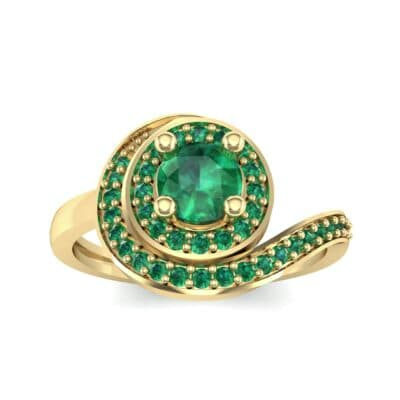 Asymmetrical Pave Bypass Emerald Engagement Ring (0.77 CTW) Top Dynamic View